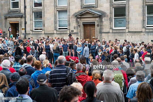 Members of the public on the Royal Mile in Edinburgh