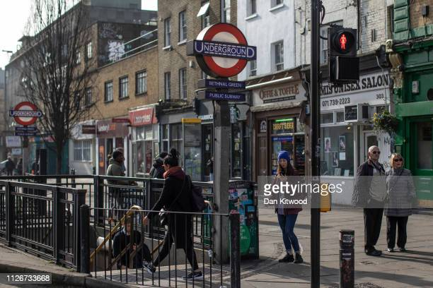 Members of the public outside Bethnal Green underground station on February 22 2019 in London England Bethnall Green in East London was the former...