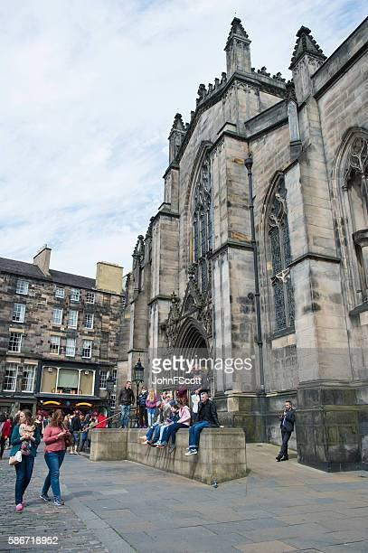 Members of the public outside St Giles Cathedral Edinburgh
