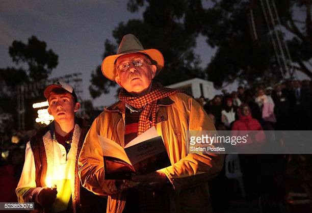 Members of the public participate in the Anzac Day dawn service at the Australian War Memorial on April 25, 2016 in Canberra, Australia. Australians...