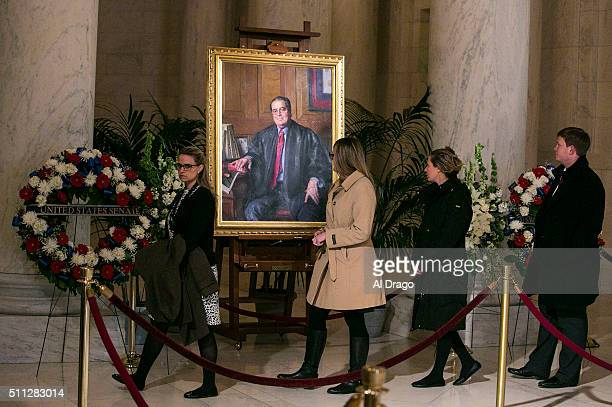 STATES FEB 19 Members of the public pass through the Great Hall of the Supreme Court as they pay their respects to the late Justice Antonin Scalia in...