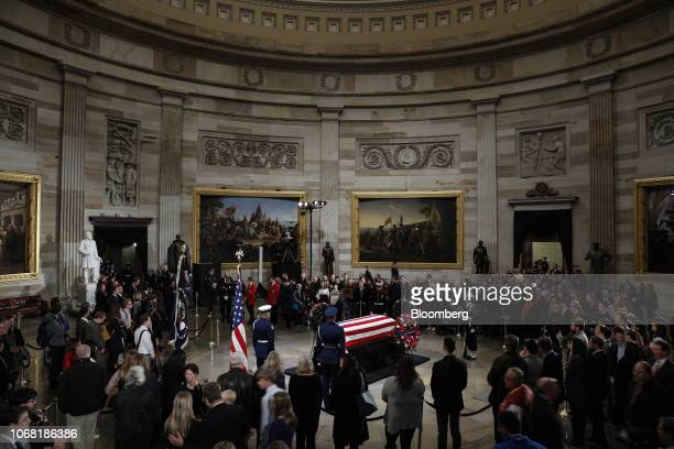 Members of the public pay their respects as former President George W Bush lies in state at the Capitol Rotunda in Washington DC US on Monday Dec 3...