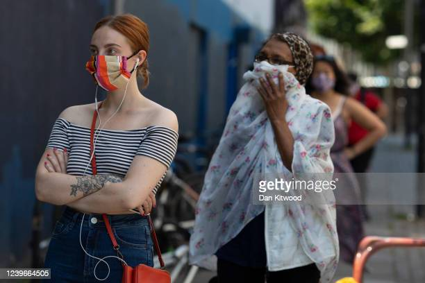 Members of the public queue for a shop in Brixton on June 01 2020 in London England The British government further relaxed Covid19 quarantine...