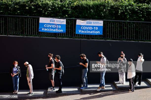 Members of the public queue outside to receive the Pfizer-BioNTech Covid-19 vaccine at a temporary Covid-19 vaccine centre at the Tate Modern in...