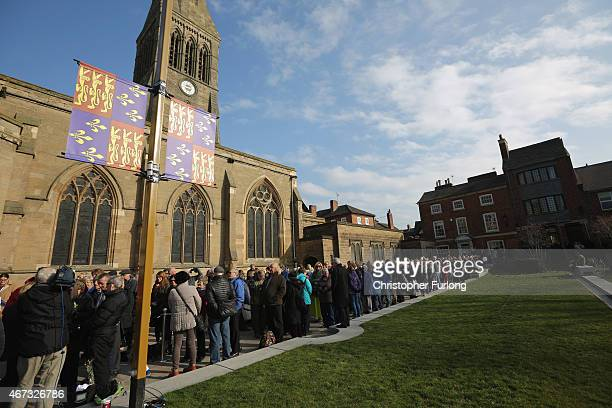 Members of the public queue to view the coffin of King Richard III as it sits in repose inside Leicester Cathedral draped in a speciallyembroidered...