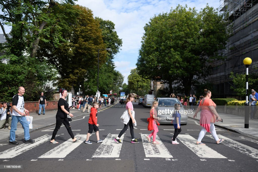 Beatles' Iconic 'Abbey Road' Photograph Made 50 Years Ago Today : News Photo