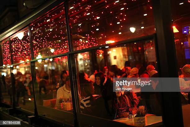 Members of the public relax in a restaurant on January 31 2016 in Sofia Bulgaria