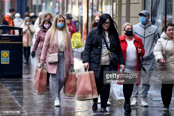 Members of the public return to shopping as the tier four rules were lifted in the eleven council areas on December 11, 2020 in Glasgow, Scotland....