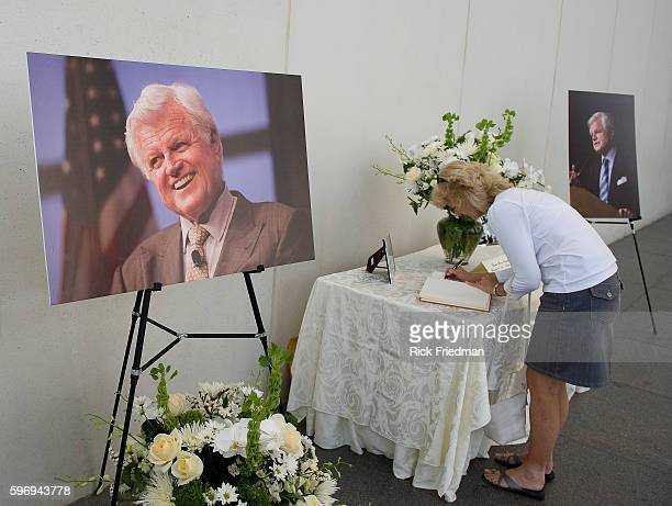 Members of the public signing the condolence books for Senator Edward M Kennedy at the John F Kennedy Library in the Dorchester section of the city...