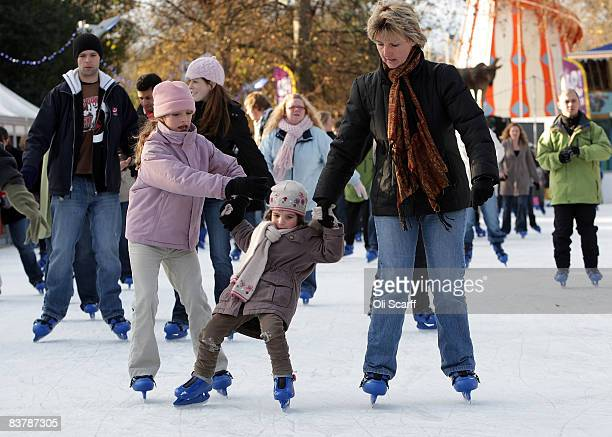 Members of the public skate on the temporary ice rink set up in Hyde Park on the first day of the 'Winter Wonderland' experience on November 22 2008...