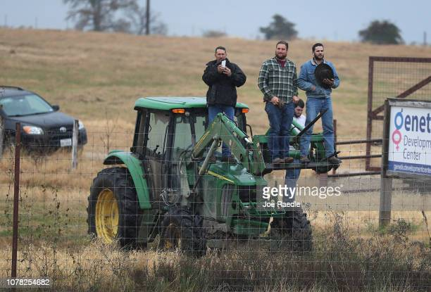 Members of the public stand on a tractor as the train carrying former President George HW Bush to his final resting place passes by on December 6...