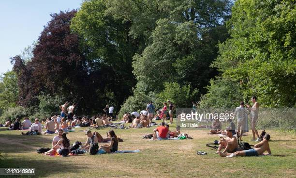 Members of the Public sunbathing during warm, sunny weather in Hampstead Heath on June 02, 2020 in London, UK. The British government further relaxed...