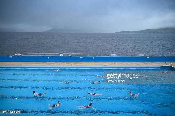 Members of the public swim in the Gourock outdoor pool on September 7, Gourock, Scotland. Scotland's oldest outdoor heated pool, which originally...