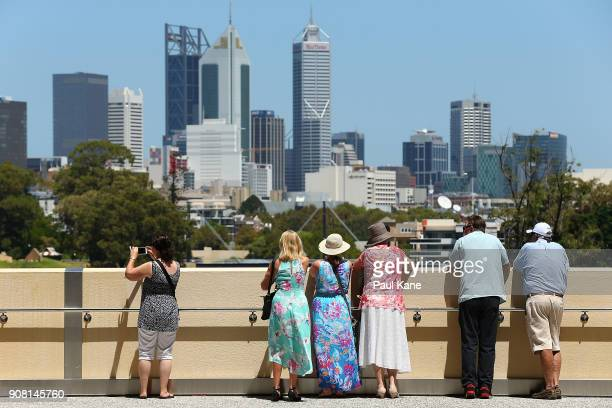 Members of the public take in the city views from an outside viewing deck at Optus Stadium on January 21 2018 in Perth Australia The 60000 seat...