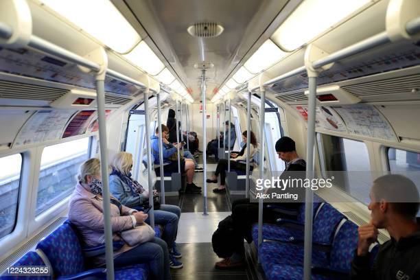Members of the public use the London Underground at Stratford Station on May 12 2020 in London United Kingdom The Prime Minister announced the...