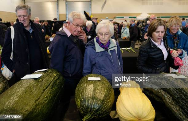 Members of the public view the marrow in the giant vegetable competition as they are displayed on the first day of the Harrogate Autumn Flower Show...
