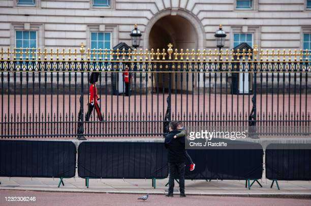 Members of the public visit Buckingham Palace as tributes to Prince Philip, Duke Of Edinburgh who died at age 99, continue on the lead up to his...