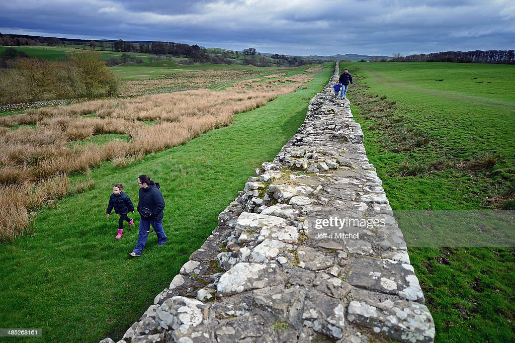 Members of the public visit Hadrian's Wall at Birdoswald, the wall was started in AD 122 on the orders of Emperor Hadrian to keep out the Picts from Scotland on April 17, 2014 in England. A referendum on whether Scotland should be an independent country will take place on September 18, 2014.