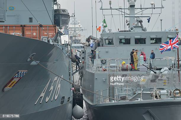 Members of the public visit HMS Ramsey and German navy ship FGS Dillingen as a convoy of six NATO warships including the HNoMS Otra from Norway BNS...