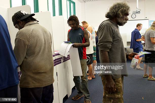 Members of the public vote at Broome Primary School on September 7 2013 in Broome Australia Australians today vote in the Federal Election in which...