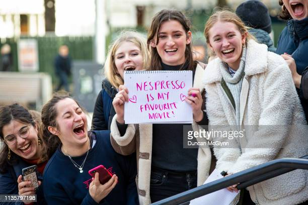 Members of the public wait to see George and Amal Clooney as they attend the People'S Postcode Lottery Charity Gala at McEwan Hall on March 15 2019...