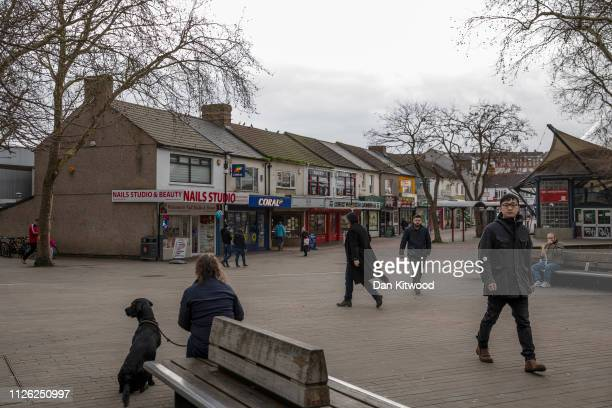 Members of the public walk down a shopping street on February 20 2019 in Swindon England The car manufacturer Honda announced on Tuesday it is to...