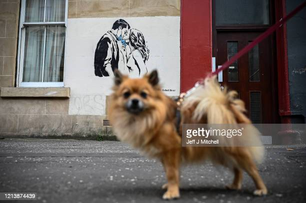 Members of the public walk past a new mural of a mask wearing couple kissing on March 21, 2020 in Glasgow, Scotland. Coronavirus has spread to at...