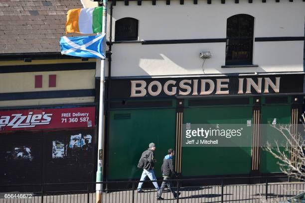 Members of the public walk past the Bogside Inn ahead of the Funeral of Martin McGuinness n March 22 2017 in Belfast Northern Ireland Northern...