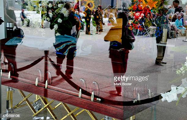 """Members of the public walk past the casket of """"Hour Of Power"""" and Crystal Cathedral founder, Robert H. Schuller prior to the memorial services held..."""