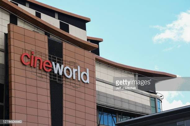Members of the public walk past the Cineworld cinema in Renfrew street on October 05, 2020 in Various Cities, . The movie theatre chain confirmed...