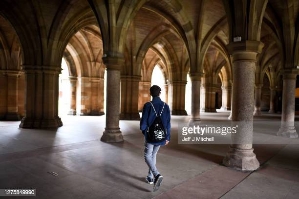 Members of the public walk through the cloisters at Glasgow University on September 23 2020 in Glasgow Scotland Scottish First Minister Nicola...