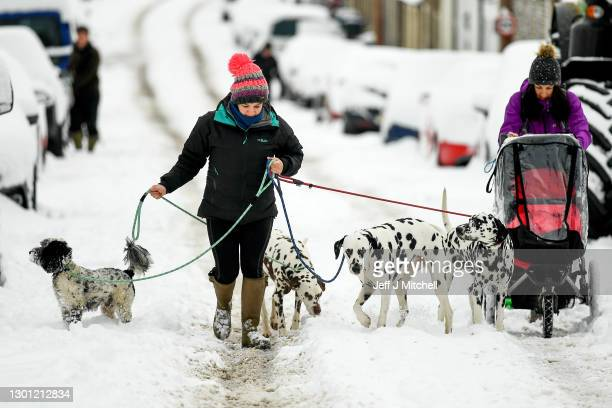 Members of the public walk through the snow on February 9, 2020 in Dunning, Scotland. An amber weather warning is in place until 21:00 for parts of...