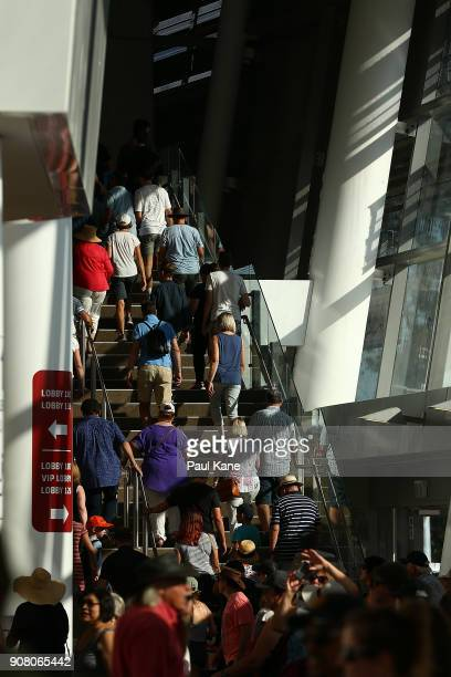 Members of the public walk up a stair case to level one at Optus Stadium on January 21 2018 in Perth Australia The 60000 seat multipurpose Stadium...