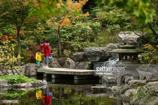 Members of the public watch the koi fish in the Kyoto Garden at Holland Park on October 10, 2020 in London, England. Temperatures during the day on...