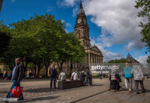Members of the public wear face masks in Bolton town centre as Coronavirus restrictions are tightened in the area on September 09 2020 in Bolton...