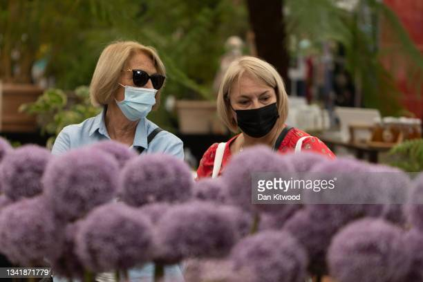Members of the public wearing face masks walk past an allium stand in the main pavilion at the Chelsea Flower Show on September 22, 2021 in London,...