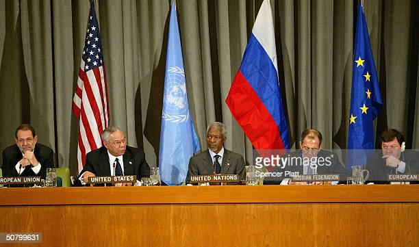 Members of the Quartet of Middle East mediators from left European Union foreign policy chief Javier Solana US Secretary of State Colin Powell United...
