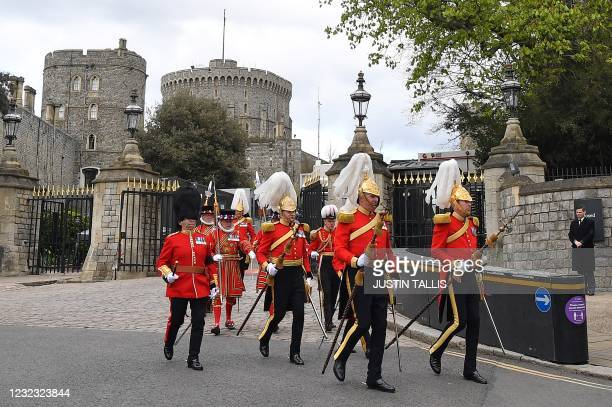 Members of the Queen's Body Guard from Yeoman of the Guard and the Honourable Corps of Gentlemen at Arms leave from Windsor Castle in Windsor, west...
