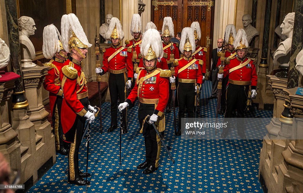 Members of the Queens body guard known as 'Gentlemen at arms' await the arrival of Queen Elizabeth II at the Palace of Westminster during the State Opening of Parliament in the House of Lords, at the Palace of Westminster on May 27, 2015 in London, England. The Queen's Speech is the centrepiece of the State Opening and is expected to see promise of an EU referendum, tax cuts and an extension of Right to Buy in the in the first all-Conservative Queen's Speech since 1996.