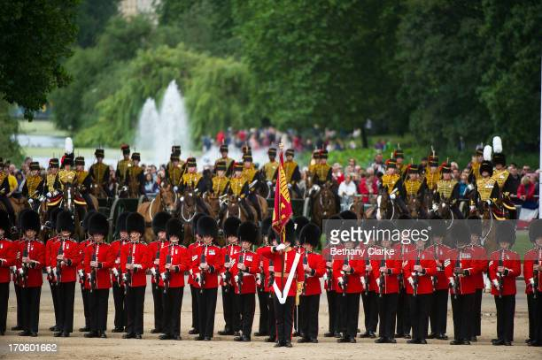 Members of the Queen's Guard and the Household Cavalry during the Trooping Of The Colour at Horse Guards Parade on June 15 2013 in London England...