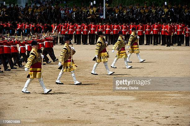 Members of the Queen's Guard during the Trooping Of The Colour at Horse Guards Parade on June 15 2013 in London England Today's ceremony which marks...