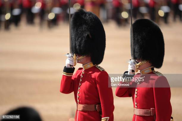 Members of the queen's personal troops the Household Division at The Royal Horseguards during Trooping The Colour ceremony on June 9 2018 in London...