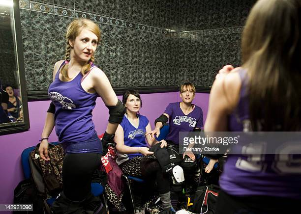 Members of the Rainy City Rollar Girls get ready before the Rollergirls Roller Derby event in Oldham April 14 2012 in Oldham England The contact...