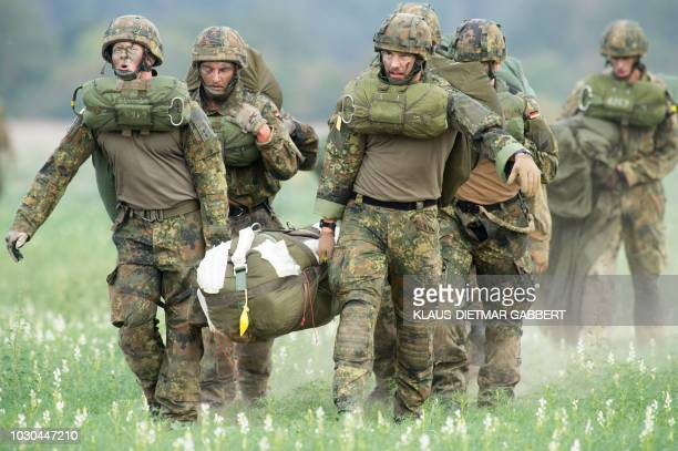 Members of the Rapid Forces Division take part in the Fast Eagle 2018 military evacuation exercise of German armed forces Bundeswehr on September 10...