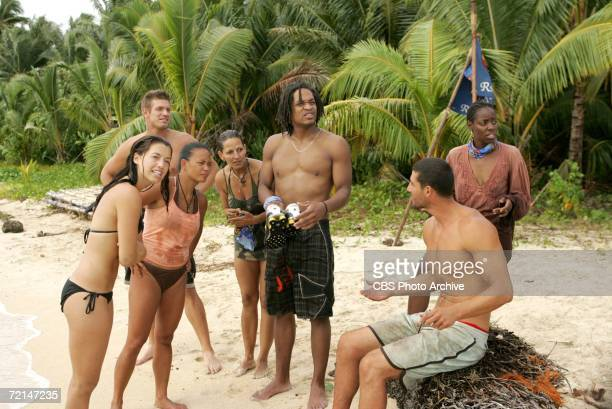 Members of the Rarotonga Tribe Parvati Shallow Adam Gentry Jenny GuzonBae Cristina Coria Nate Gonzalez John JP Calderon and Stephannie Favor during...