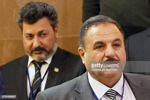 Ahmed Beri chief of staff of the Free Syrian Army and Ahmed Othman commander of Sultan Murad group attend the fourth round of Syria peace talks in...