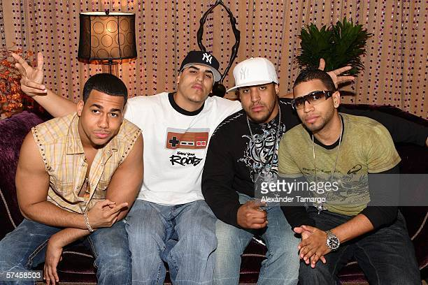 Members of the recording group Aventura pose at the celebrity gift retreat presented by Backstage Creations for the 2006 Premios Billboard at...