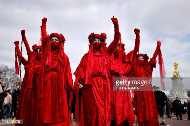 Members of the Red Brigade performance group take part in a 'Kill The Bill' protest against the Government's Police, Crime, Sentencing and Courts...