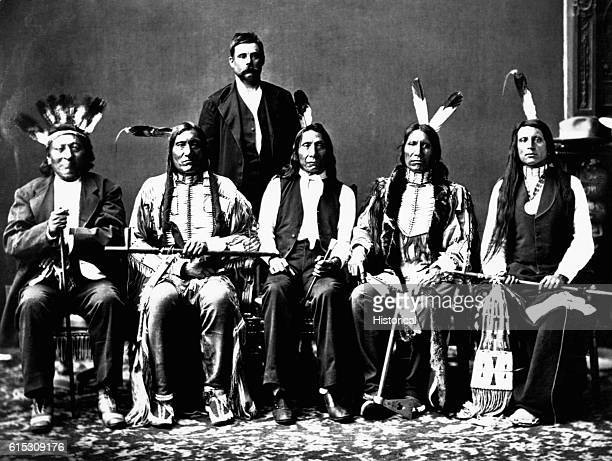 Members of the Red Cloud delegation left to right Red Dog Little Wound John Bridgeman Red Cloud American Horse and Red Shirt Oglala Sioux Photograph...