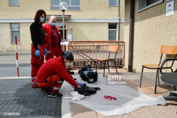 Members of the Red Cross at work during the nationwide lockdown on April 18, 2020 in Turin, Italy. The Italian government continues to enforce...